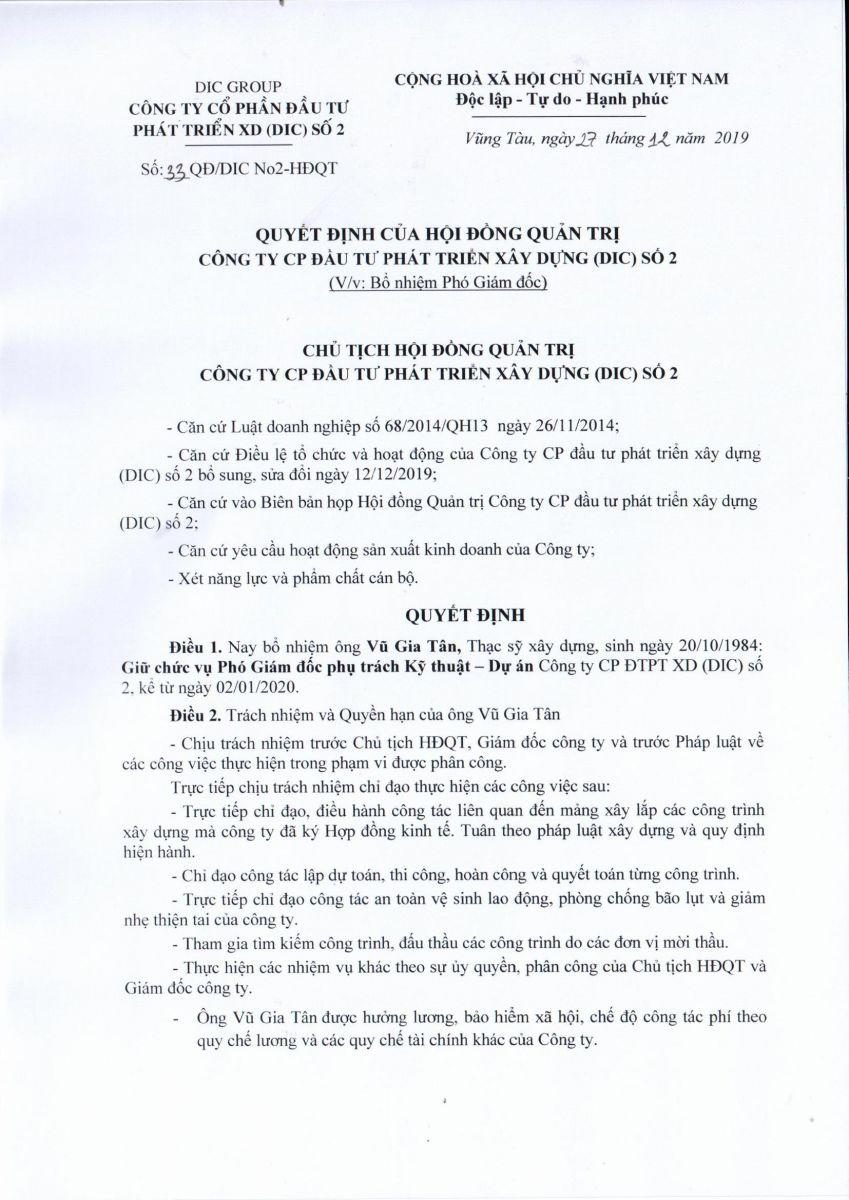QUYẾT ĐỊNH BỔ NHIỆM ÔNG VŨ GIA TÂN GIỮ CHỨC VỤ PHÓ GIÁM ĐỐC PHỤ TRÁCH KỸ THUẬT - DỰ ÁN